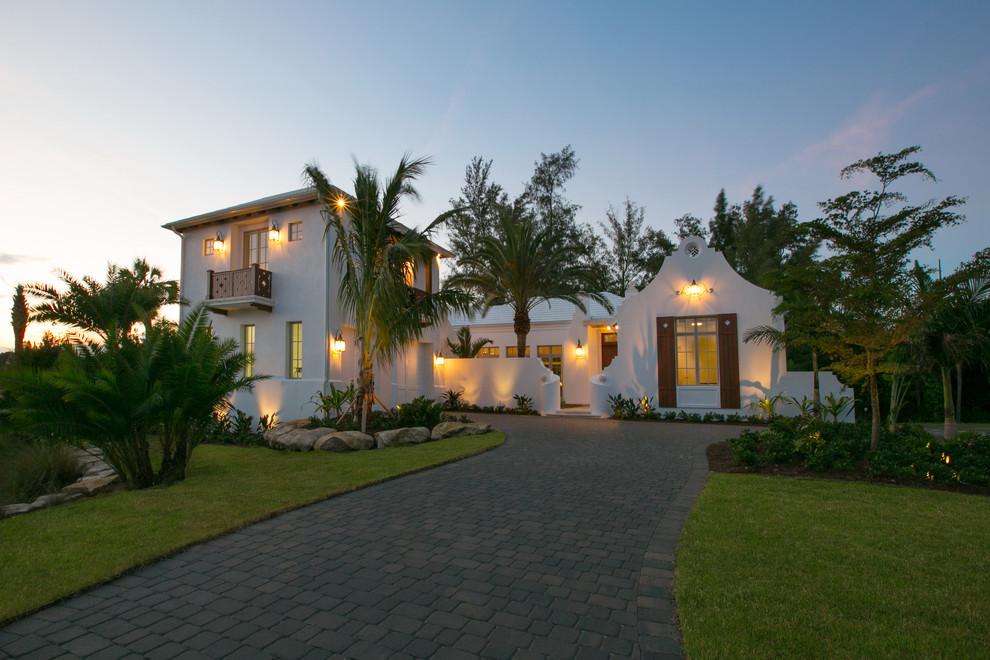 Mediterranean two-story exterior home idea in Miami