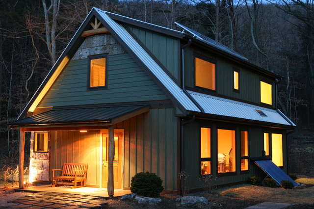 Springtime cottage at 54 swanger rustic exterior for Solar cottage plans