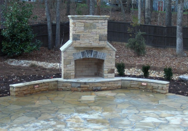 Stacked Stone Fireplace pany Atlanta Traditional