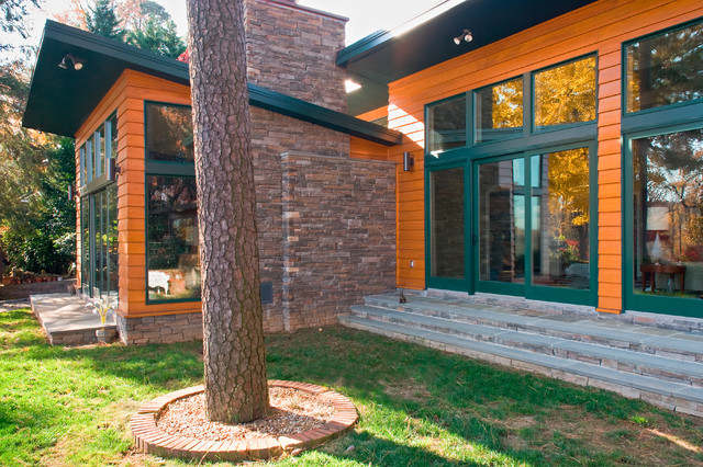Stained Cedar Siding with Stone Accents contemporary-exterior