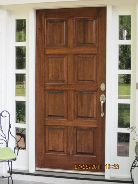 Stained mahogany door traditional exterior for Small double front doors