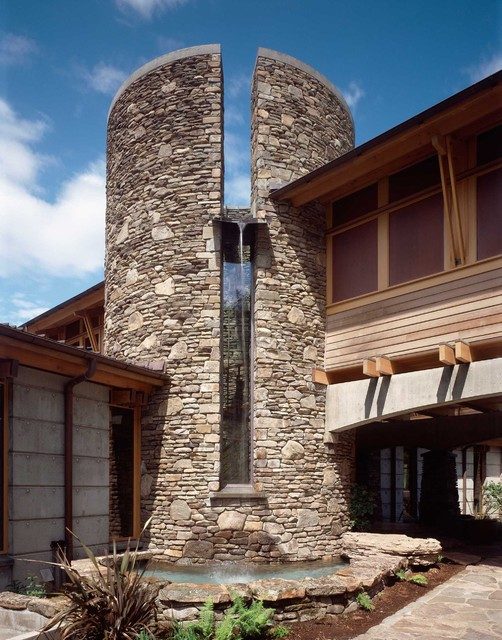 Stair tower with skylight runoff water feature for Stair tower