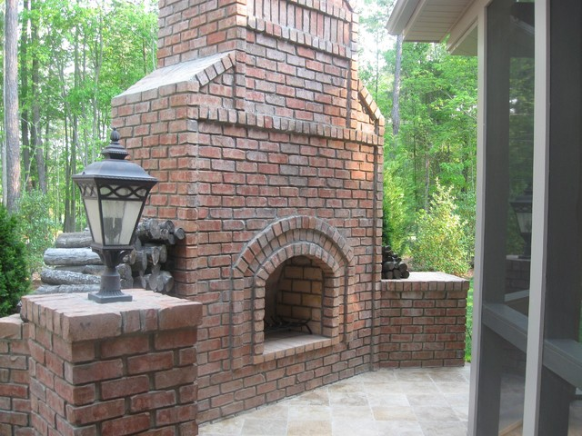 stand alone brick outdoor fireplace traditional exterior other