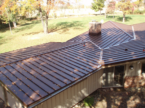 Lovely Standing Seam Metal Roof In Mansard Brown Exterior