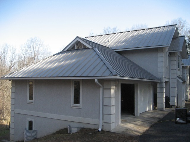 Standing seam metal roofing in dove gray exterior new for Metal hip roof