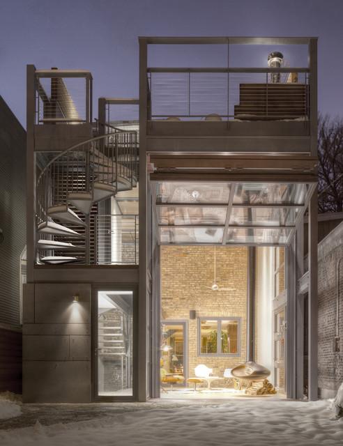 Steel Glass Operable Bi Fold Door Open Contemporary Exterior Ch