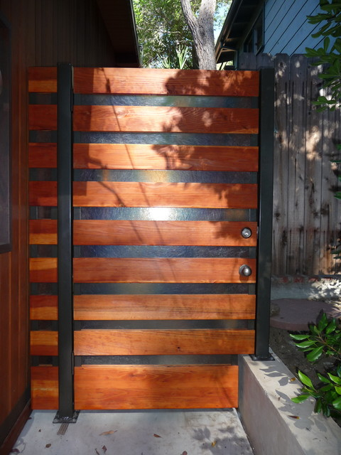 Steel, Wood and Translucent Fiberglass side gate, Hollywood Hills - Contemporary - Exterior ...