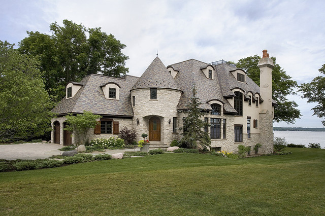 Stone and Stucco French Provincial on Lake Geneva - Traditional - Exterior - chicago - by Orren ...