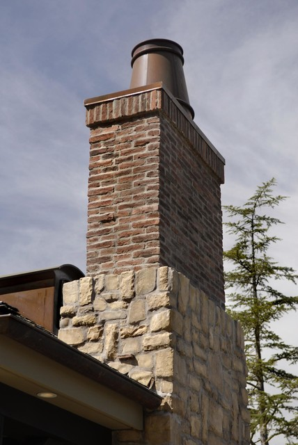 Stone Base With Brick Chimney Traditional Exterior