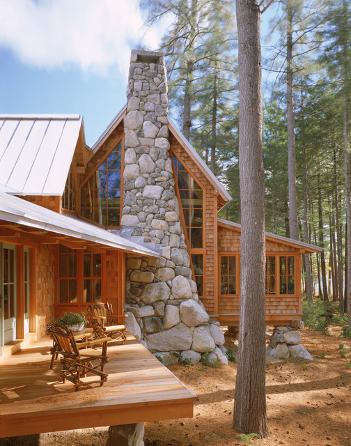 Stone chimney rustic exterior portland maine by for Log home architects
