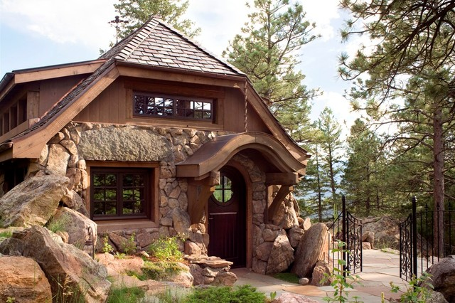 Stone cottage rustic exterior denver by tkp architects for How to build a stone cabin