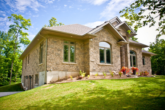 Stone Custom Home Transitional Exterior Other By