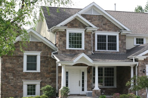 Palladium Stone Around Window : What type of trim is around the window door columns and