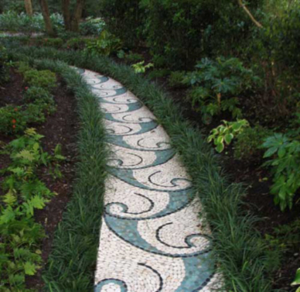 Paintings Of Cobblestone Paths : Stone garden path mosaic contemporary exterior