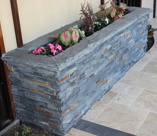 Stone Ledger Planter Box Rustic Exterior Dallas By
