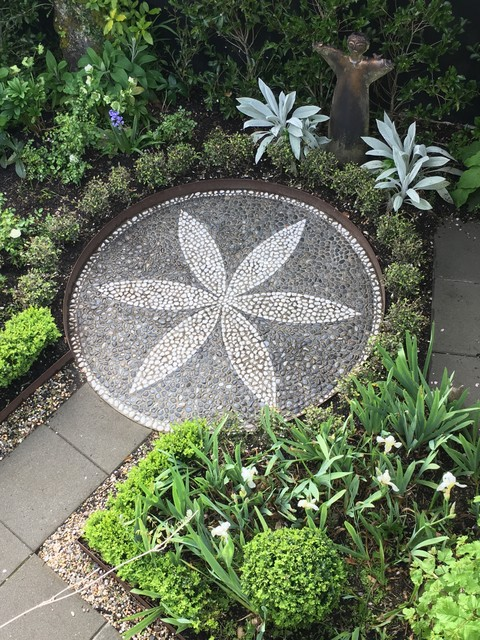 Stone Mosaic And Iris Garden American Traditional Exterior