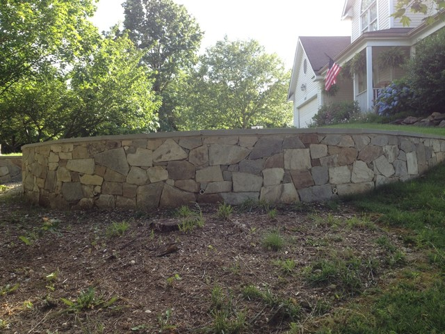 Natural Stone Veneer Retaining Wall