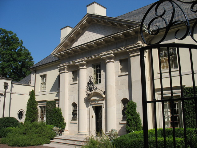 Stone Temple Front Neo Classical Wrought Iron Limestone