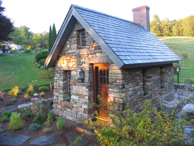 Stone thoreau cabin for Stone cottage plans and photos