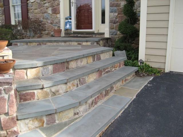 Stone Veneer And Flagstone Tread Covered Steps