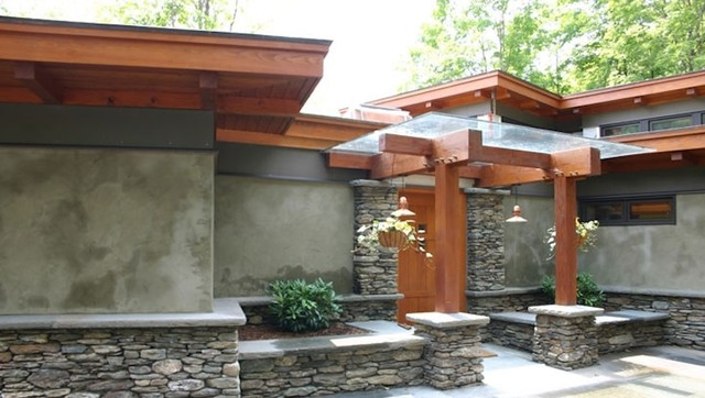 Stone veneer and stucco contemporary exterior other for How to install stone veneer over stucco