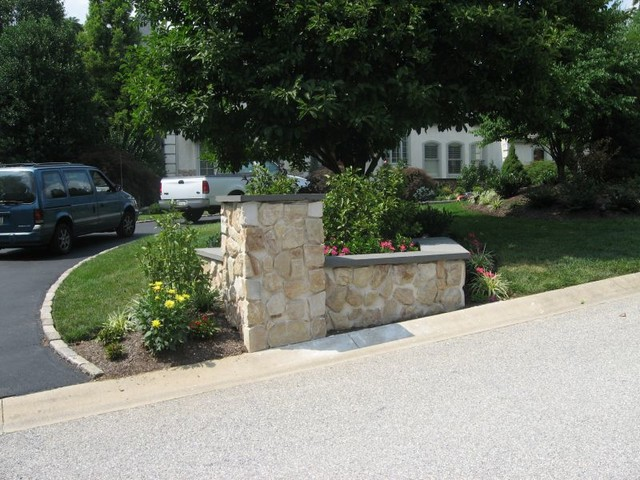 Stone Entrance Pillars : Stone veneer driveway entrance garden area with pillar