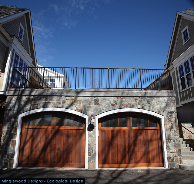 Stone veneer on garage eclectic exterior boston by for Stone garage designs