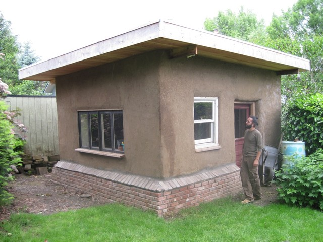 Straw Bale Shed Exterior Portland by Earthen Hand Natural Building – Straw Bale Garage Plans