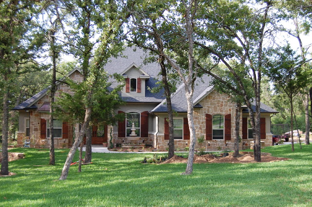 Stone Stucco Elevation : Stucco stone front elevation traditional exterior