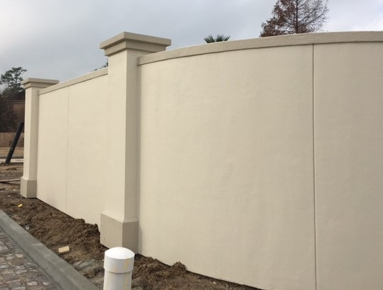 Stucco On Frame : Stucco fence on steel frame traditional exterior