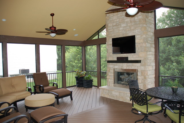 Sunrooms traditional exterior st louis by for Sunrooms with fireplaces