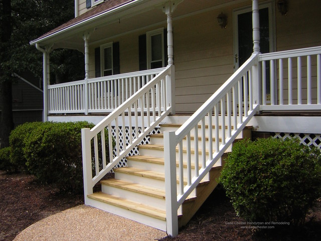 synthetic and vinyl decks stairs and railings traditional