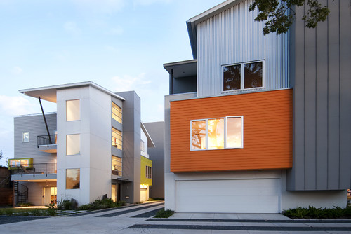 Modern orange beach house
