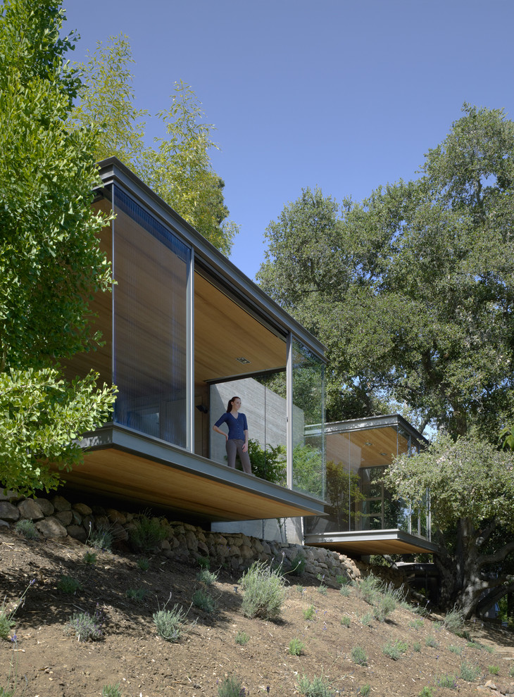 Small modern one-story glass flat roof idea in San Francisco