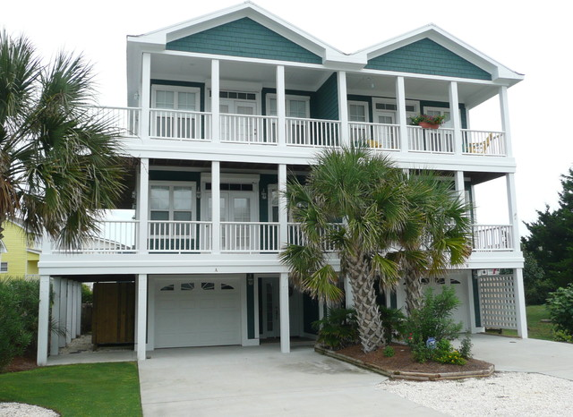 teal exterior duplex beach house traditional exterior