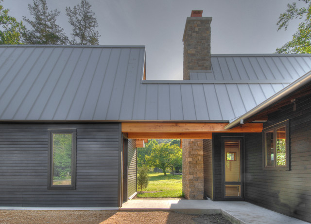 Tellico cabin transitional exterior nashville by for Metal roof home plans