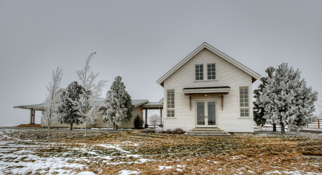 View of guest cottage from the pasture. farmhouse-exterior