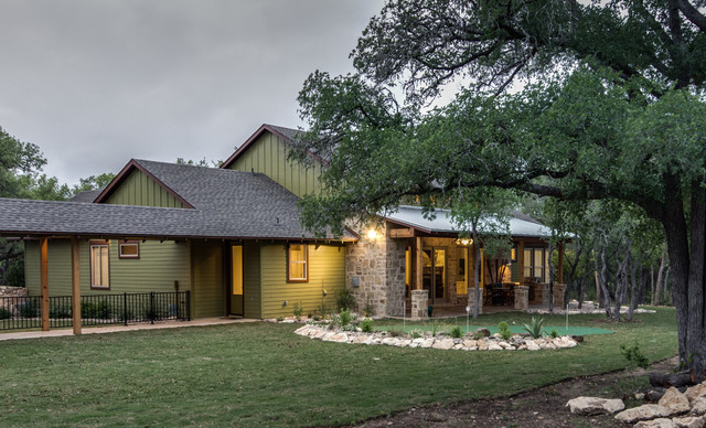 Texas hill country man space traditional exterior for Hill country stone