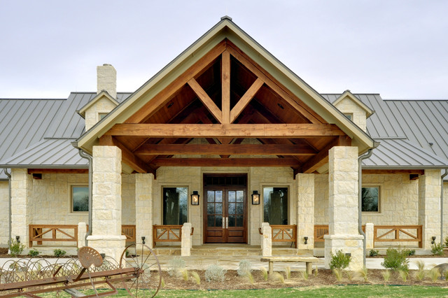 Texas hill country retreat rustic exterior dallas for Texas country home plans