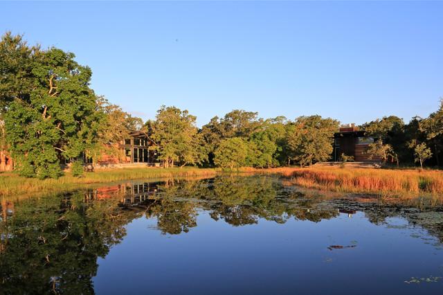 Texas Lake Retreat House transitional-exterior