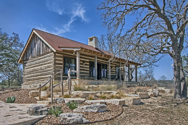 Texas log cabins rustic exterior austin by paddle for Log home plans texas