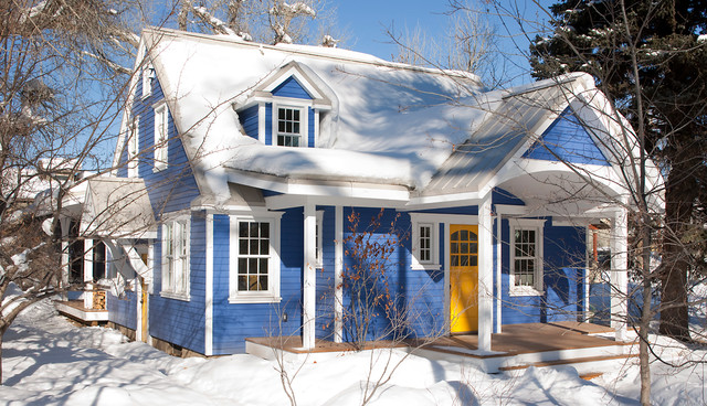 that blue house traditional exterior - Blue House Design