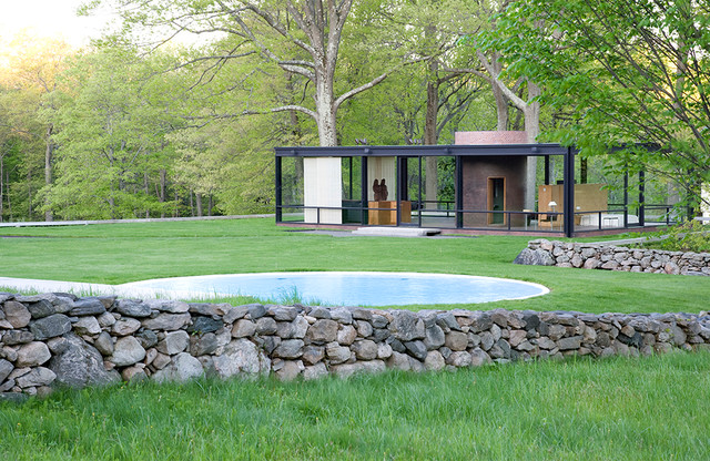 The Glass House with pool. - Modern - Exterior - other metro - by The Philip Johnson Glass House