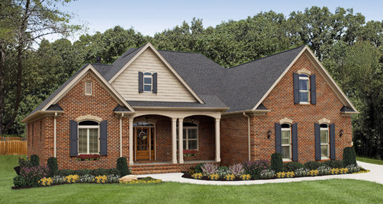 The lujack plan 1043 craftsman exterior charlotte Brick craftsman house