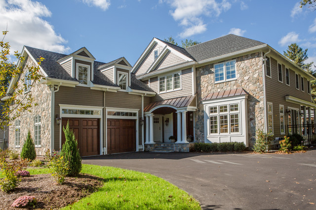 Garage door accents - The Modern New England Home Traditional Exterior