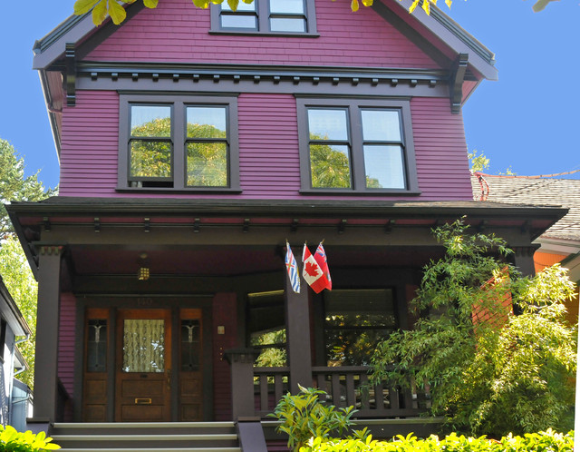 The purple painted lady victorian exterior vancouver by warline painting ltd - Purple exterior paint image ...