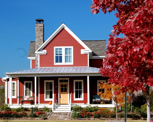 Red barn or boothbay blue exterior inspiration on the for Farmhouse exterior paint colors