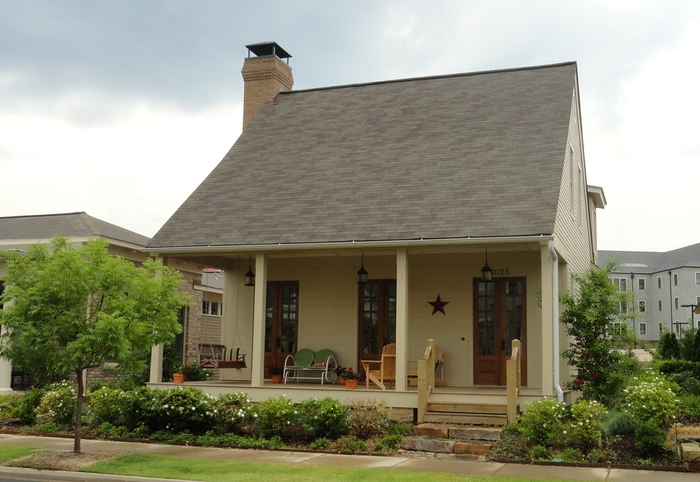 Arts and crafts beige concrete fiberboard exterior home photo in Little Rock