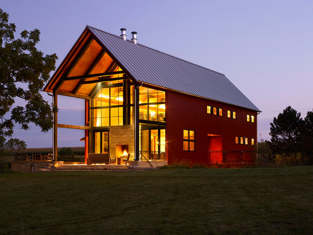Pole Barn Design Ideas awesome pole barn houses decorating ideas for garage and shed traditional design ideas with awesome barn barn doors Inspiration For A Farmhouse Red Exterior In Milwaukee With A Gable Roof