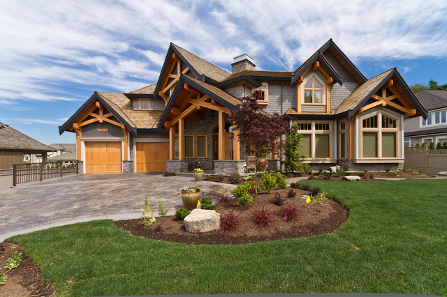 Timber frame city home traditional exterior for Timber frame accents